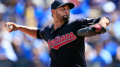 Cleveland Indians starting pitcher Danny Salazar delivers to a Kansas City Royals batter during the first inning of a baseball game at Kauffman Stadium in Kansas City, Mo., Sunday, Aug. 20, 2017. (AP Photo/Orlin Wagner)