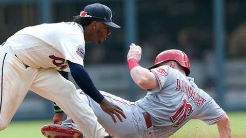 Atlanta Braves second baseman Ozzie Albies (1) tags Cincinnati Reds' Tucker Barnhart out at second base after a ground ball by Patrick Kivlehan in the sixth inning of a baseball game, Sunday, Aug. 20, 2017, in Atlanta. (AP Photo/John Bazemore)