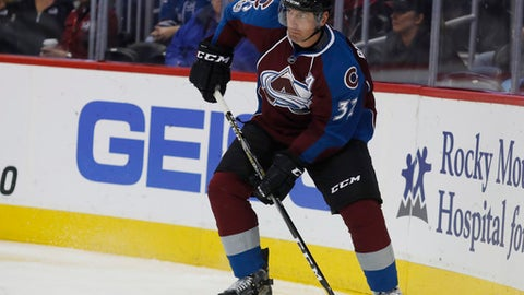 Colorado Avalanche defenseman Francois Beauchemin (32) in the third period overtime of an NHL hockey game Tuesday, April 4, 2017, in Denver. The Avalanche won 4-3 in overtime. (AP Photo/David Zalubowski)