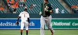 Healy hits 2 of A's 4 HRs in 6-4 win over Orioles