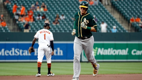 Oakland Athletics' Ryon Healy, right, rounds the bases past Baltimore Orioles shortstop Tim Beckham after hitting a solo home run during the first inning of a baseball game in Baltimore, Tuesday, Aug. 22, 2017. (AP Photo/Patrick Semansky)