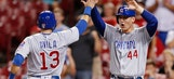 Bryant nicked, lefty Rizzo plays 3B, Cubs beat Reds 13-9