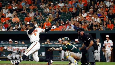 Baltimore Orioles' Jonathan Schoop singles in front of Oakland Athletics catcher Dustin Garneau and home plate umpire Ted Barrett in the eighth inning of a baseball game in Baltimore, Tuesday, Aug. 22, 2017. Chris Davis and Tim Beckham scored on the play. (AP Photo/Patrick Semansky)
