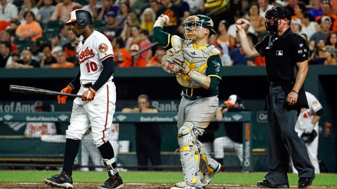 Baltimore Orioles' Adam Jones, left, walks off the field after striking out swinging in front of Oakland Athletics catcher Dustin Garneau and home plate umpire Ted Barrett in the seventh inning of a baseball game in Baltimore, Tuesday, Aug. 22, 2017. Oakland won 6-4. (AP Photo/Patrick Semansky)