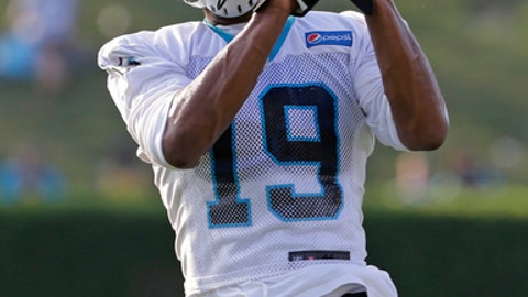 "File-This July 26, 2017, file photo shows Carolina Panthers' Russell Shepard catching a pass during practice at training camp at Wofford College in Spartanburg, S.C. Shepard would love to a steal a page from Steve Smith's career playbook in Carolina. Like Smith early on in his career, Shepard is out to shed the label of being ""just a special teams guy"" and emerge as a valuable receiving threat.  (AP Photo/Chuck Burton, File)"