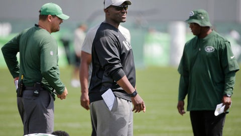 New York Jets head coach Todd Bowles participates in a NFL football training camp in Florham Park, N.J., Wednesday, Aug. 23, 2017. (AP Photo/Seth Wenig)