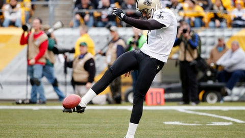 File- This Nov. 30, 2014, file photo shows New Orleans Saints punter Thomas Morstead (6) getting off a punt during the second half of an NFL football game against the Pittsburgh Steelers in Pittsburgh. Entering his ninth NFL season, Morstead hopes his evolving mental approach, technique and consistency will maximize his big leg better than even during his Pro Bowl season of 2012. With all the close games in the NFL these days, he figures his ability to help New Orleans win a field position struggle could make a big difference. (AP Photo/Gene J. Puskar, File)