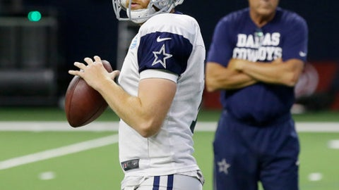 In this  Tuesday, Aug. 22, 2017 photo, Dallas Cowboys quarterback Cooper Rush (7) looks to pass during an NFL football camp practice in Frisco, Texas. Undrafted quarterback Cooper Rush is leaving the same preseason impression Dak Prescott did as a rookie a year ago. Rush isn't going to replace a healthy Prescott, but he's already taking second-team reps from veteran Kellen Moore. (AP Photo/LM Otero)