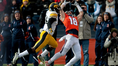 FILE - In this Nov. 15, 2014, file photo, Illinois wide receiver Mike Dudek (18) makes a touchdown catch next to Iowa defensive back Desmond King during an NCAA college football game in Champaign, Ill. Dudek led all FBC freshmen with 79.8 receiving yards per game and set school freshman records with 1,038 receiving yards and 76 catches in 2014, but that was before two major injuries to his right knee. Second-year coach Lovie Smith is optimistic about Dudek physically–the junior's strength and conditioning numbers are up since his freshman season–but it's hard to be certain exactly what sort of player Dudek will be when he returns for Illinois' home opener against Ball State on Sept. 2. (AP Photo/Bradley Leeb, File)