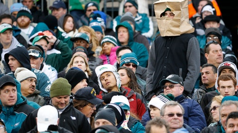 "FILE - In this Nov. 22, 2015, file photo, a fan wears a paper bag on his head in the stands of Lincoln Financial Field during the second half of an NFL football game between the Philadelphia Eagles and the Tampa Bay Buccaneers in Philadelphia. The obituary for an Eagles fan who died Aug. 18, 2017, stated that he wanted 8 members of the team to serve as pallbearers so the Eagles could let him down ""one last time."" (AP Photo/Julio Cortez, File)"