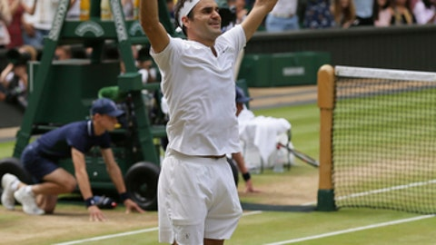 File-This Julyb16, 2017, file photo shows Switzerland's Roger Federer celebrating after defeating Croatia's Marin Cilic to win the Men's Singles final match at the Wimbledon Tennis Championships in London. Federer is back. All the way back. He's back at the U.S. Open after sitting it out a year ago. And he's back in the role of Grand Slam title contender after winning the past two majors he's entered, the Australian Open in January and Wimbledon in July. When the U.S. Open begins Monday, Aug. 28, 2017, Federer, at age 36 , will be among the men considered likeliest to win the championship, something he last did at Flushing Meadows nearly a decade ago.  (AP Photo/Tim Ireland, File)