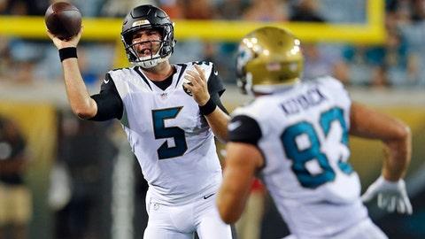 Jacksonville Jaguars quarterback Blake Bortles (5) throws a pass to tight end Ben Koyack (83) during the second half of an NFL preseason football game against the Carolina Panthers, Thursday, Aug. 24, 2017, in Jacksonville, Fla. (AP Photo/Stephen B. Morton)