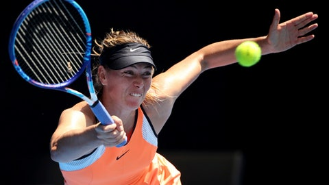 File-This jan. 26, 2016, file photo shows Maria Sharapova of Russia playing a forehand return to Serena Williams of the United States during their quarterfinal match at the Australian Open tennis championships in Melbourne, Australia.  Sharapova's first Grand Slam match in more than 1½ years will come against No. 2-seeded Simona Halep at the U.S. Open. Sharapova's first-round matchup with two-time French Open runner-up Halep was set up by the draw, Friday, Aug. 25, 2017,  which also put Roger Federer and Rafael Nadal on the same side of the men's bracket, meaning they could meet only in the semifinals.(AP Photo/Rick Rycroft, File)