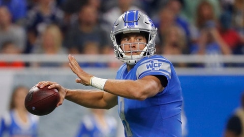 Detroit Lions quarterback Matthew Stafford looks downfield during the first half of the team's NFL preseason football game against the New England Patriots, Friday, Aug. 25, 2017, in Detroit. (AP Photo/Rick Osentoski)