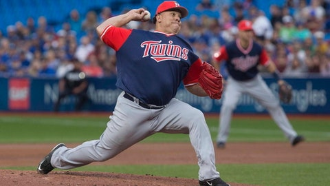Minnesota Twins starting pitcher Bartolo Colon works against the Toronto Blue Jays during the first inning of a baseball game Friday, Aug. 25, 2017, in Toronto. (Chris Young/The Canadian Press via AP)