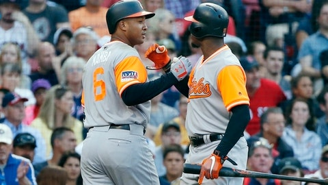Baltimore Orioles' Jonathan Schoop (6) celebrates his solo home run with Adam Jones during the eighth inning of a baseball game against the Boston Red Sox in Boston, Saturday, Aug. 26, 2017. (AP Photo/Michael Dwyer)