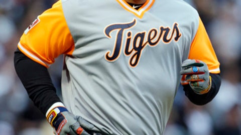 Detroit Tigers' Miguel Cabrera smiles as he walks to the first base during the first inning of a baseball game against the Chicago White Sox, Saturday, Aug. 26, 2017, in Chicago. (AP Photo/Nam Y. Huh)