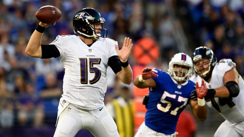 Baltimore Ravens quarterback Ryan Mallett (15) throws to a receiver in the first half of a preseason NFL football game against the Buffalo Bills, Saturday, Aug. 26, 2017, in Baltimore. (AP Photo/Gail Burton)