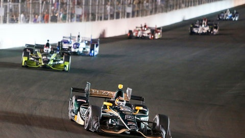 JR Hilderbrand negotiates a corner during the IndyCar auto race Saturday, Aug. 26, at Gateway Motorsports Park in Madison, Ill. (AP Photo/Scott Kane)