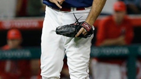 Los Angeles Angels relief pitcher Blake Parker reacts after striking out Houston Astros' Alex Bregman for the final out of a baseball game in Anaheim, Calif., Saturday, Aug. 26, 2017. The Angels won 7-6. (AP Photo/Alex Gallardo)