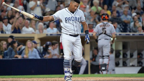 San Diego Padres' Yangervis Solarte throws his bat after striking out to end the seventh inning of a baseball game against the San Francisco Giants on Monday, Aug. 28, 2017, in San Diego. (AP Photo/Orlando Ramirez)