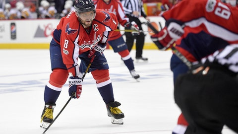 In this photo taken April 29, 2017, Washington Capitals left wing Alex Ovechkin (8), of Russia, looks on during the second period of Game 2 in an NHL hockey Stanley Cup second-round playoff series against the Pittsburgh Penguins, in Washington. The Russian superstar skated in an informal practice Tuesday, Aug. 29, 2017, and looked like he wasn't as heavy as when he played at 239 pounds last season. If that's indeed the case, Ovechkin took to heart the challenge from general manager Brian MacLellan to train differently and add more speed to his game as he's about to turn 32. (AP Photo/Nick Wass)
