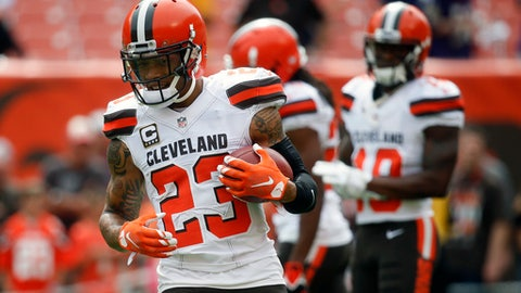 FILE - In this Sunday, Sept. 18, 2016 file photo, Cleveland Browns cornerback Joe Haden practices before an NFL football game against the Baltimore Ravens in Cleveland. Coach Hue Jackson isn't denying a report that the Cleveland Browns are attempting to trade cornerback Joe Haden. Jackson says he wants the two-time Pro Bowler on his defense, but he deferred to Sashi Brown, the team's top front-office executive, to make decisions that help the Browns, Tuesday, Aug. 29, 2017. (AP Photo/Ron Schwane, File)