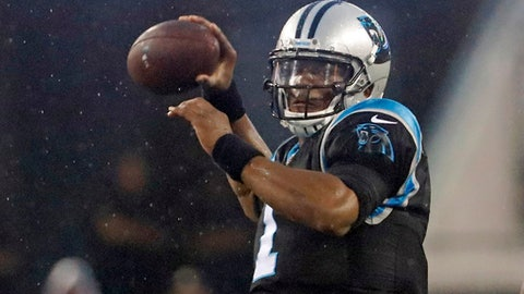 FILE - In this Thursday, Aug. 24, 2017 file photo, Carolina Panthers quarterback Cam Newton throws a pass against the Jacksonville Jaguars during the first half of an NFL preseason football game in Jacksonville, Fla. Panthers coach Ron Rivera isn't concerned about quarterback Cam Newton receiving only limited reps in the preseason. He hasn't decided if Newton will play in the preseason finale against the Pittsburgh Steelers this week. (AP Photo/Stephen B. Morton, File)