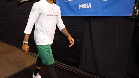 BOSTON, MA - MAY 19:  Isaiah Thomas #4 of the Boston Celtics walks to the court before Game Two of the Eastern Conference Finals against the Cleveland Cavaliers during the 2017 NBA Playoffs on May 19, 2017 at the TD Garden in Boston, Massachusetts. NOTE TO USER: User expressly acknowledges and agrees that, by downloading and or using this Photograph, user is consenting to the terms and conditions of the Getty Images License Agreement. Mandatory Copyright Notice: Copyright 2017 NBAE (Photo by Nathaniel S. Butler/NBAE via Getty Images)