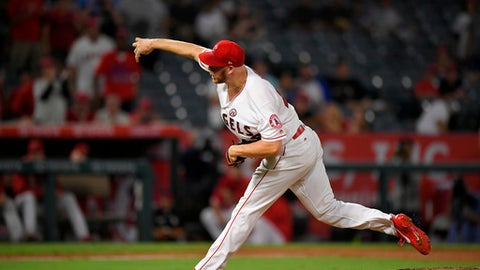 Los Angeles Angels relief pitcher Blake Wood throws during the ninth inning of a baseball game against the Oakland Athletics, Tuesday, Aug. 29, 2017, in Anaheim, Calif. (AP Photo/Mark J. Terrill)
