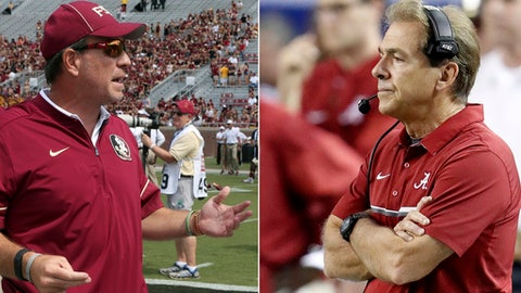 FILE - At left, in a Sept. 10, 2016, file photo, Florida State head coach Jimbo Fisher gestures during an NCAA college football game against Charleston Southern. At right, in a Dec. 3, 2016, file photo, Alabama head coach Nick Saban watches play against Florida during the second half of the Southeastern Conference championship NCAA college football game, in Atlanta. The result of the Alabama-Florida State could be a topic of conversation all season, especially among the College Football Playoff selection committee. (AP Photo/File)