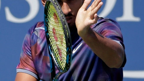 Nick Kyrgios, of Australia, reacts after scoring a point against John Millman, of Australia, during the first round of the U.S. Open tennis tournament, Wednesday, Aug. 30, 2017, in New York. (AP Photo/Seth Wenig)