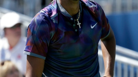 Nick Kyrgios, of Australia, reacts during a first round match of the U.S. Open tennis tournament against John Millman, of Australia, Wednesday, Aug. 30, 2017, in New York. (AP Photo/Seth Wenig)