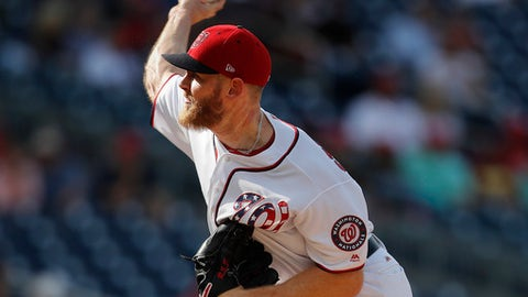 Washington Nationals starting pitcher Stephen Strasburg delivers against the Miami Marlins, during the second inning of a baseball game at Nationals Park, Wednesday, Aug. 30, 2017, in Washington. (AP Photo/Pablo Martinez Monsivais)