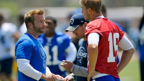 FILE - In this June 5, 2017, file photo, Los Angeles Rams coach Sean McVay, left, talks with quarterback Jared Goff, right, as offensive coordinator Matt LaFleur stands between them during NFL football practice in Thousand Oaks, Calif. The Rams hired an offensive mastermind as coach and hope Sean McVay's presence will help Goff develop into a legitimate NFL passer. (AP Photo/Mark J. Terrill. File)