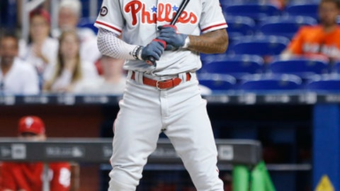 Philadelphia Phillies' Nick Williams reacts a after striking out during the first inning of a baseball game against the Miami Marlins, Thursday, Aug. 31, 2017, in Miami. (AP Photo/Wilfredo Lee)