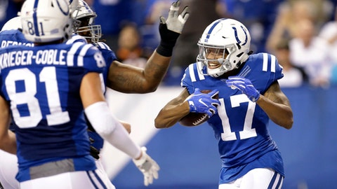 Indianapolis Colts wide receiver Justice Liggins (17) celebrates a touchdown against the Cincinnati Bengals during the second half of a preseason NFL football game in Indianapolis, Thursday, Aug. 31, 2017. (AP Photo/AJ Mast)
