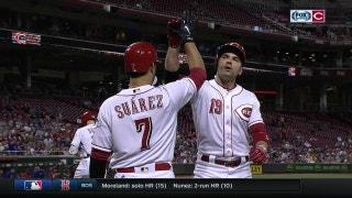 WATCH: Votto, Suarez, Schebler hit trio of 9th-inning home runs