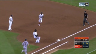 WATCH: Marlins' Dee Gordon races Giants' Nick Hundley to first