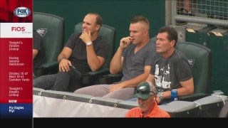 BFFs: Trout and Gubie take in an Eagles game together