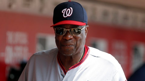 Jul 17, 2017; Cincinnati, OH, USA; Washington Nationals manager Dusty Baker walks through the dugout during the first inning against the Cincinnati Reds at Great American Ball Park. Mandatory Credit: David Kohl-USA TODAY Sports