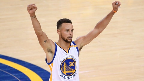 Jun 12, 2017; Oakland, CA, USA; Golden State Warriors guard Stephen Curry (30) celebrates after defeating the Cleveland Cavaliers in game five of the 2017 NBA Finals at Oracle Arena. Mandatory Credit: Kyle Terada-USA TODAY Sports