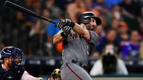 Aug 17, 2017; Houston, TX, USA; Arizona Diamondbacks left fielder Daniel Descalso (3) hits an in-the-park home run during the fourth inning against the Houston Astros at Minute Maid Park. Mandatory Credit: Shanna Lockwood-USA TODAY Sports