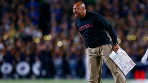 SOUTH BEND, IN - OCTOBER 15: Head coach David Shaw of the Stanford Cardinal is seen during the game against the Notre Dame Fighting Irish at Notre Dame Stadium on October 15, 2016 in South Bend, Indiana. Stanford defeated Notre Dame 17-10. (Photo by Michael Hickey/Getty Images)