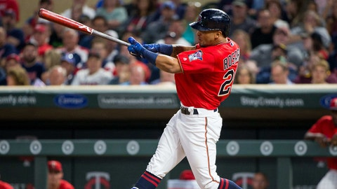 Aug 4, 2017; Minneapolis, MN, USA; Minnesota Twins outfielder Eddie Rosario (20) at bat in the fifth inning against the Texas Rangers at Target Field. Mandatory Credit: Brad Rempel-USA TODAY Sports
