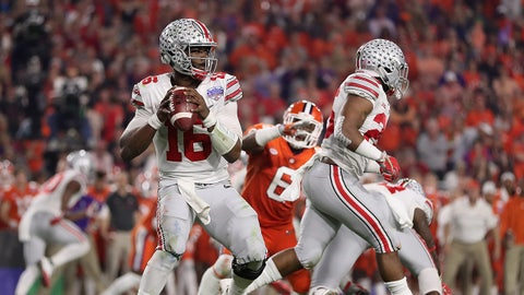 GLENDALE, AZ - DECEMBER 31:  Quarterback J.T. Barrett #16 of the Ohio State Buckeyes drops back to pass during the Playstation Fiesta Bowl against the Clemson Tigers at University of Phoenix Stadium on December 31, 2016 in Glendale, Arizona. The Tigers defeated the Buckeyes 31-0.  (Photo by Christian Petersen/Getty Images)