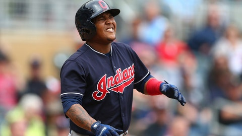 Aug 17, 2017; Minneapolis, MN, USA; Cleveland Indians third baseman Jose Ramirez reacts after being hit by a pitch in he second inning against the Minnesota Twins at Target Field. Mandatory Credit: Mark J. Rebilas-USA TODAY Sports