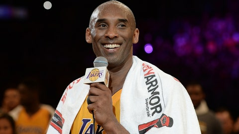 Apr 13, 2016; Los Angeles, CA, USA; Los Angeles Lakers forward Kobe Bryant (24) smiles as he addresses the crowd after the Lakers defeat of the Utah Jazz in the final game of his career at Staples Center. Mandatory Credit: Robert Hanashiro-USA TODAY Sports