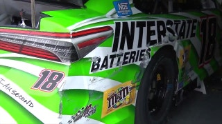Whoops! Watch Kyle Busch hit the wall at Michigan International Speedway