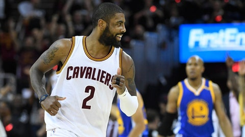 Jun 9, 2017; Cleveland, OH, USA; Cleveland Cavaliers guard Kyrie Irving (2) reacts after making a basket against the Golden State Warriors during the first half in game four of the 2017 NBA Finals at Quicken Loans Arena. Mandatory Credit: Kyle Terada-USA TODAY Sports